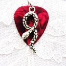 RED GUITAR PICK SERPENT SNAKE CHARM PENDANT NECKLACE
