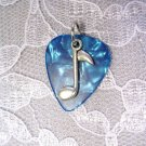 TURQ BLUE GUITAR PICK MUSIC NOTE CHARM PENDANT NECKLACE