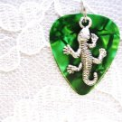 DEEP GREEN GUITAR PICK w GECKO LIZARD CHARM NECKLACE