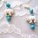 CERAMIC 3D TATANKA WHITE BUFFALO & BLUE TURQUOISE NUGGETS EARRINGS