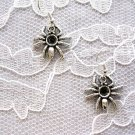 WICKED SPIDER / ARACHNID SILVER ALLOY CHARMS PIERCED DANGLING EARRINGS