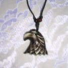 "NEW SOLID BROWN RESIN EAGLE HEAD PENDANT 34"" NECKLACE"