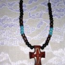EXOTIC HARD WOOD CROSS PENDANT w WOODEN & CERAMIC BEADS NECKLACE