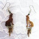 BROWN COCONUT SHELL HOWLING WOLVES BEADED EARRINGS WOLF JEWELRY