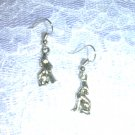 3D HOWLING COYOTE / SPIRIT WOLF / WOLVES SILVER ALLOY METAL CHARM EARRINGS