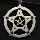 DOUBLE PENTACLE STAR w 5 CRYSTAL POINTS WICCA PEWTER PENDANT NECKLACE