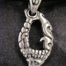 2 SIDED MAORI TRIBAL DECO SHARK TOOTH STYLE PEWTER PENDANT NECKLACE XL BAIL