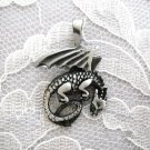 WILD IN FLIGHT FANTASY DRAGON MYSTICAL PEWTER PENDANT ADJ NECKLACE