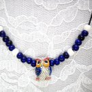 HAND PAINTED 3D HOOT OWL CERAMIC PENDANT w COBALT BEADS ADJ NECKLACE