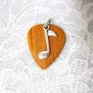 REAL OLIVEWOOD GUITAR PICK w MUSIC NOTE CHARM PENDANT NECKLACE