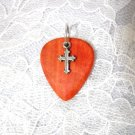 PINK IVORY WOOD GUITAR PICK w PEWTER CROSS CHARM PENDANT NECKLACE