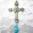 HAND ENGRAVED WOOD LOG LOOK CROSS & BLUE TURQUOISE GEM NUGGET PEWTER PENDANT NECKLACE