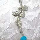 HAND ENGRAVED FAIRY w BLUE TURQUOISE GEM NUGGET PENDANT NECKLACE