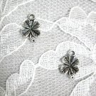 FUN LUCKY IRISH 4 LEAF CLOVER DANGLING CHARM ALLOY SILVER HOOK WIRE PAIR OF EARRINGS