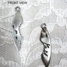 SURFBOARD w SHARK BITE & FOOTPRINTS PEWTER PENDANT NECKLACE