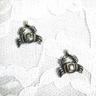 NEW SURFSIDE OCEAN CRAB - CRABS FOODIE PEWTER DANGLING CHARM PIERCED EARRINGS