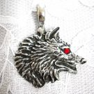 LARGE HUNTER WOLF HEAD RED CRYSTAL EYE PEWTER PENDANT NECKLACE