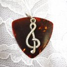 XL BROWN FENDER GUITAR PICK G CLEF MUSIC SYMBOL PENDANT NECKLACE