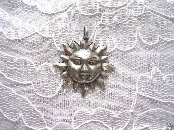 FLAMING SUN WITH FACE PEWTER PENDANT ADJ CORD NECKLACE