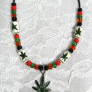 GREEN POT LEAF - GREEN GLITTER - COLORFUL HAND BEADED RASTA COLOR ADJ NECKLACE