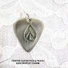 PEWTER GUITAR PICK & HIPPIE PEACE SIGN DROP CHARM DOUBLE PENDANT ADJ NECKLACE