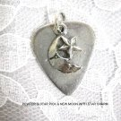 NEW PEWTER GUITAR PICK & NIGHT SKY CRESCENT MOON & STAR CHARM PEWTER PENDANT NECKLACE
