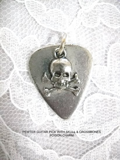 CAST USA PEWTER GUITAR PICK & POISON SYMBOL SKULL & CROSSBONE CHARM PENDANT NECKLACE