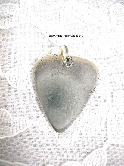 NEW SOLID CAST USA PEWTER GUITAR PICK PENDANT ADJ CORD NECKLACE