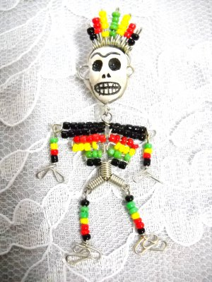 HAND MADE WIRE RASTA SEED BEAD CHIEF PENDANT YIN YAN SKULL & FULL BODY SKELETON