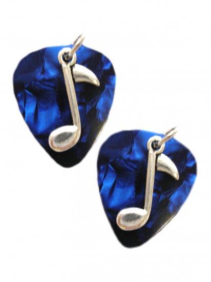 RICH DEEP BLUE REAL GUITAR PICKS w MUSIC NOTE CHARM MUSICAL EARRINGS