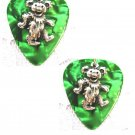 DEEP GREEN (or U Pick) GUITAR PICK w PEWTER DANCING BEAR CHARMS MUSICAL EARRINGS