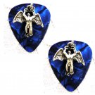 DEEP BLUE GUITAR PICK w SWAN SONG CELTIC ANGEL PEWTER CHARM EARRINGS