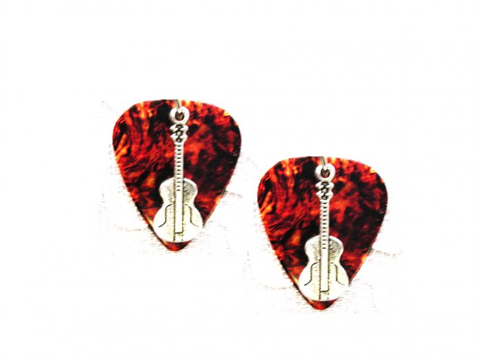 BROWN TORTOISE SHELL GUITAR PICK w CLASSIC GUITAR CHARM EARRINGS