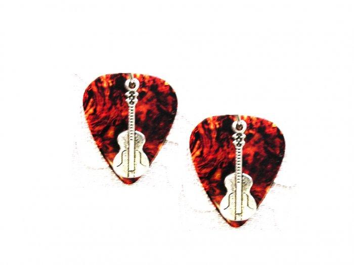 BROWN TORTOISE SHELL GUITAR PICK w CLASSIC GUITAR CHARM EARRINGS