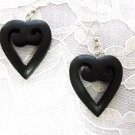 NEW EXOTIC HARDWOOD BLACK HEARTS REAL SHAPED WOOD HEART SWIRLING DANGLING EARRINGS