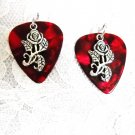DEEP RED GUITAR PICK w OPEN ROSE FLOWER CHARMS DANGLING ROCKER EARRINGS