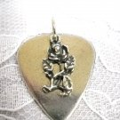 SOLID PEWTER GUITAR PICK & SINGLE STEM ROSE FLOWER PEWTER CHARM PENDANT NECKLACE