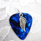 DEEP BLUE GUITAR PICK w ANGEL WING PENDANT NECKLACE
