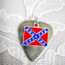 PEWTER GUITAR PICK & CONFEDERATE REBEL FLAG SOUTHERN ROCK DOUBLE PENDANT ADJ NECKLACE