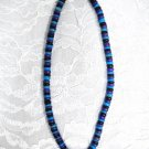 "LARGE BLUE PURPLE BLACK WOOD COCO SURF BEADS 18"" NECKLACE"