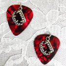 NEW BLOOD RED COLOR GUITAR PICKS w DEMON VAMPIRE TEETH CHARM GOTH EARRINGS