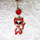 RED CRYSTAL BAD KITTY CAT CHARM & RED CZ BELLY BUTTON RING BODY JEWELRY
