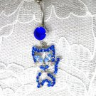 BLUE CRYSTAL KITTY CAT CHARM & BLUE CZ NAVEL RING BELLY RING BODY JEWELRY