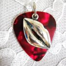 DEEP RED GUITAR PICK w LIPS IN A KISS PENDANT NECKLACE