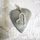 NEW THICK PEWTER GUITAR PICK & SHAPED LOVE HEART CHARM DOUBLE PENDANT NECKLACE