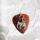 BROWN GUITAR PICK FULL BODY BULL DOG / BULLDOG CHARM PENDANT NECKLACE
