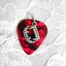 DEEP BLOOD RED GUITAR PICK w DEMONIC VAMPIRE TEETH CHARM PENDANT ADJ NECKLACE