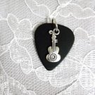 SOLID BLACK GUITAR PICK w FANCY DESIGN GUITAR CHARM PENDANT