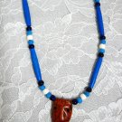 EXOTIC ROSE WOOD TIKI MASK PENDANT BLUE BONE BEAD & CERAMIC ACCENTS ADJ NECKLACE