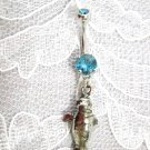 CAST PEWTER SEA COW MANATEE CHARM w BABY BLUE CZ SS BELLY RING BARBELL